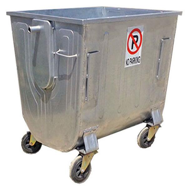 سطل زباله بزرگ گالوانیزه چهار چرخ